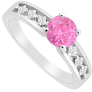 Superb September Birthstone Pink Sapphire & CZ Engagement Ring 14K White Gold