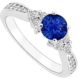 High-Class September Birthstone Sapphire & CZ Engagement Ring In 14K White Gold