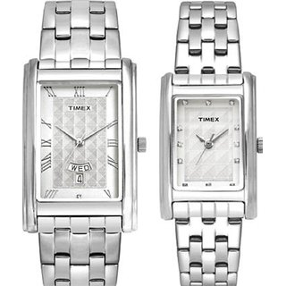 Timex Quartz Silver Rectangle Men Watch TW00PR203