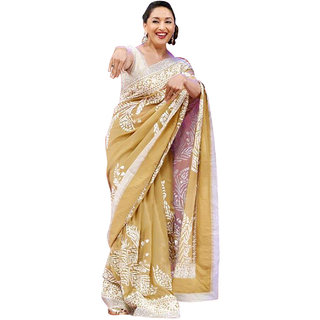 SuratTex Beige & White Georgette Embroidered Saree With Blouse