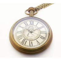 Kartique Antique Style Brass Pocket Watch With Roman Nu
