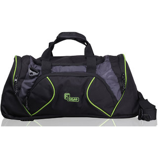 F Gear 27 liter Travel Duffle bag Cum Gym Bag (Black Grey Green)