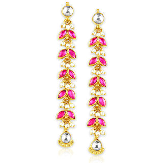 Spargz Ethnic Kundan With Pearl Party Wear Gold Plated Long Earrings For Women AIER 677