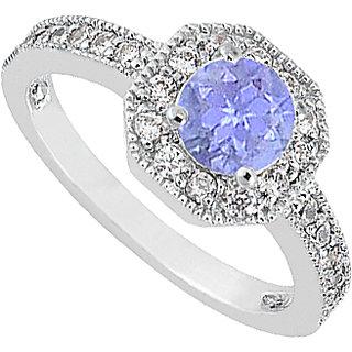 LoveBrightJewelry Tanzanite & Diamond Milgrain Engagement Ring In 14K White Gold