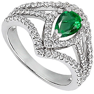 LoveBrightJewelry Simulated Green Emerald Ring In White Gold