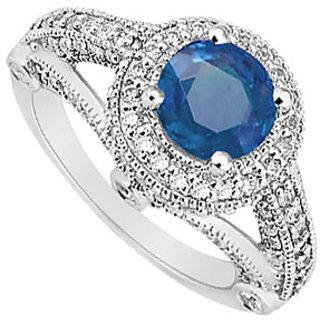 Split Shank September Birthstone Sapphire & CZ Halo Engagement Ring 14K White Gold