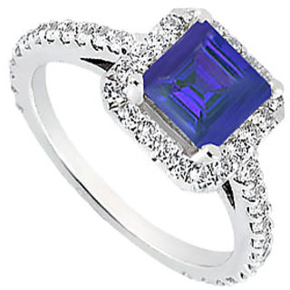 LoveBrightJewelry Square Halo Engagement Ring With Sapphire & CZ In 14K White Gold