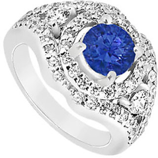 September Birthstone Sapphire & CZ Wide Band Engagement Ring 14K White Gold