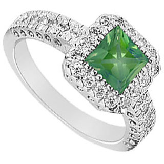 Square Emerald & Cubic Zirconia Halo Engagement Ring 14K White Gold