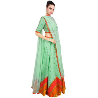 Surat Tex Green Color Party Wear Semi-Stitched Digital Print Banglory Silk Lehenga Choli With Heavy Designer Banglory Si