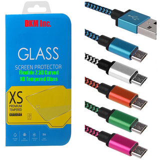 DKM Inc 25D HD Curved Edge Flexible Tempered Glass and Nylon V8 Micro USB Cable for Samsung Galaxy Grand Prime G530