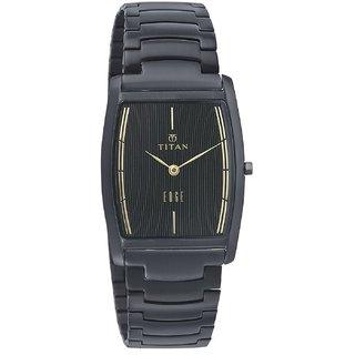 Titan Quartz Black Rectangle Men Watch 1044NM01