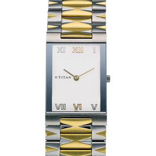 Titan Quartz White Square Men Watch 1296BM01