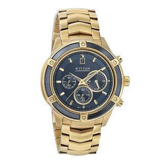 Titan Round Dial Gold Metal Strap Men Quartz Watch