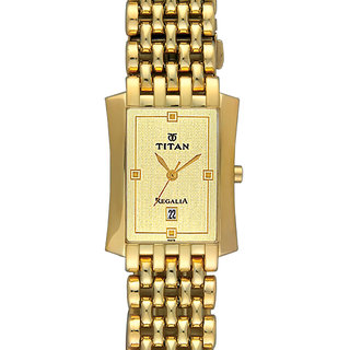 Titan Quartz Gold Square Men Watch 1927YM05