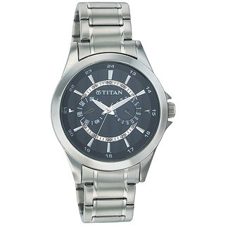 Titan Quartz Grey Round Men Watch 9323SM02