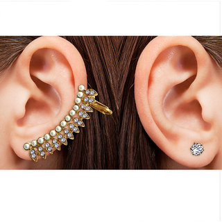 Spargz Gold Plated Pearl Ear Cuff With Stud One AD Stone Earring For Women AIER 880