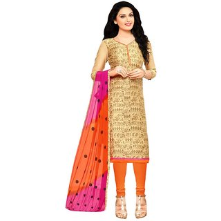 RapidDukan Un-Stitched Beige Color Printed Churidar Salwar Suit Dupatta MaterialsSF824