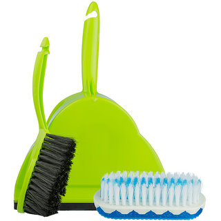 Aasaan Dust Pan With Brush And Clothes Scrub Brush