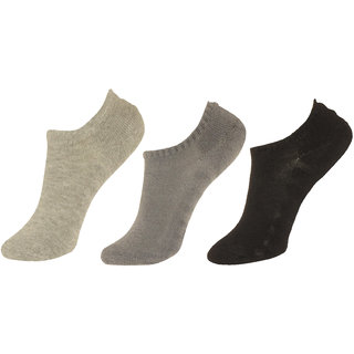 Neska Moda Premium 3 Pair Women Exclusive Plain Casual Cotton No Show Loafer Socks Grey Black