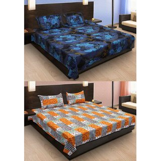 Krishnam Multicolor Printed Cotton 2 Double Bedsheets with 4 Pillow Covers