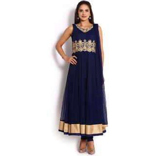 Soch Navy Blue & Gold Net Anarkali Salwar Suit