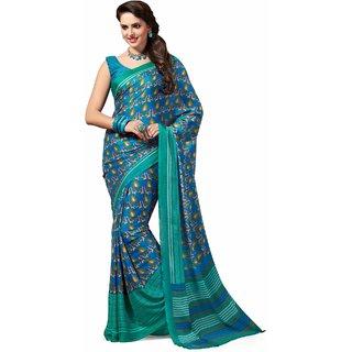 Sudarshan Silks Multicolor Crepe Self Design Saree With Blouse