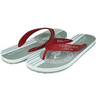 U.S. Polo Assn. Men's Red And Grey Flip Flops
