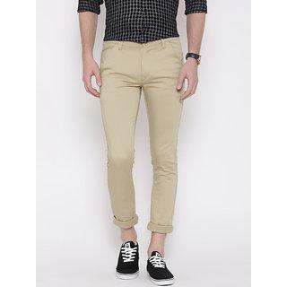 Rodamo Khaki Slim Fit Mid Rise Casual Trouser For Men