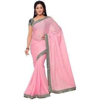 Subhash Party Wear Baby Pink Color Brasso Saree/Sari