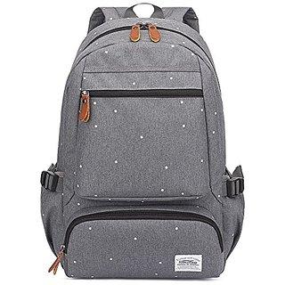 Kaukko Unisex Fashion Casual College School Bookbag Oxford Backpack-Grey