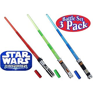 Star Wars Darth Vader, Luke Skywalker & Obi-Wan Kenobi Electronic BladeBuilder Extendable Lightsabers Battle Set Bundle