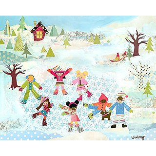 Oopsy daisy Skating Kids Stretched Canvas Wall Art by Winborg Sisters, 30 by 24-Inch