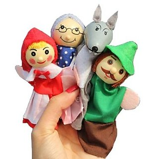 4X Finger Puppets . Childrens storytelling helper, hand puppets .Little Red Riding Hood TY041