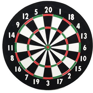 CLASSIC OLD ENGLISH STYLE 18 INCH DOUBLE SIDED DARTBOARD + 6 BRASS DARTS
