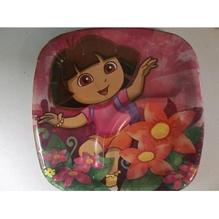 Dora Floral Square Dessert Pocket Plate 8 Count