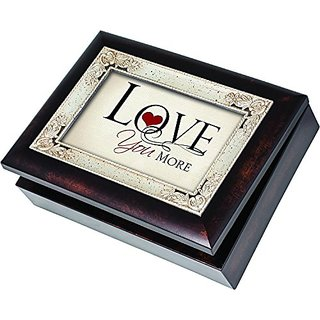 Love You More Cottage Garden Italian Style Burlwood Finish with Decorative Inlay Jewelry Music Musical Plays Song All Yo
