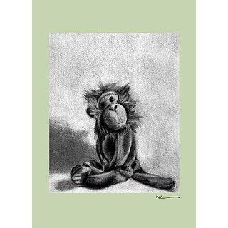 Oopsy Daisy Charcoal Monkey Canvas Wall Art, Green, 10