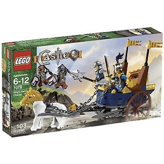 Each minifigure comes with medieval accessories, even the horse has a helmet-Battle chariot is equipped with cross bow,