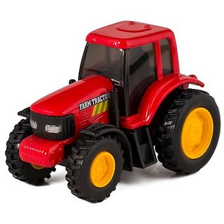 Red Die Cast Metal Farm Tractor Toy with Pull Back Action
