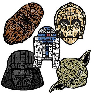 Star Wars Classic Shaped Stickers - Prizes and Giveaways - 50 per Pack-Each sticker features a characters face colored