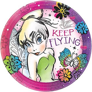 Amscan TinkerBell - Keep Flying Round Paper Plates, Multicolored, 9