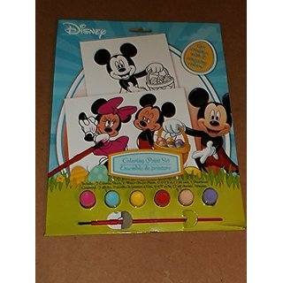 Disney Mickey Mouse Coloring Paint Set - Easter - 2 Coloring Sheets, 6 paints & 1 paintbrush