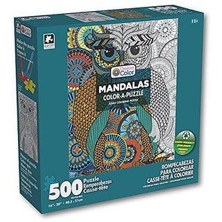 Karmin International Color a Puzzle - Mandalas Owl Design Puzzle (500 Piece)