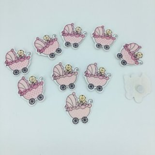 25 Pcs Small Wood Pink Stroller Baby Shower Favours Motif