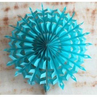 30 Cm Snowflake Paper Fan - Sky Blue