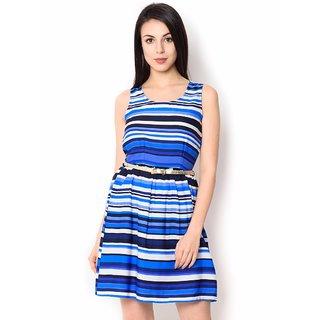 Urban Religion Printed  Blue Ployester Knee-Length  Party Wear Dress For Women
