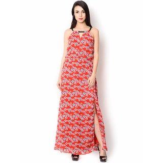 Urban Religion  Red Ployester Full Length  Party Wear Dress For Women