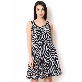Urban Religion Black Poly Viscose Party Wear Dress For Women