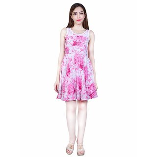 Urban Religion Pink Poly Viscose Party Wear Dress For Women